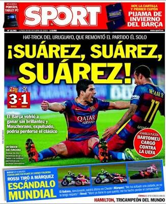 Portada Sport: Suárez hat-trick