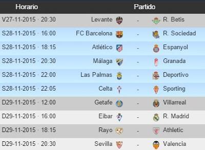 Partidos Jornada 13. Liga Española BBVA 2015 2016