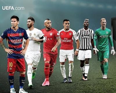 Equipo ideal del Año de la UEFA 2015: nominados