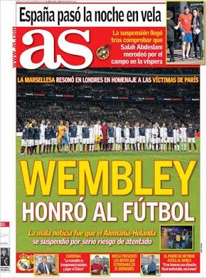 Portada AS: Wembley hornó al fútbol