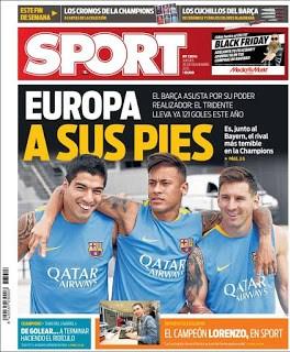 Portada Sport: Europa a sus pies barcelona