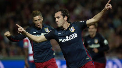 Granada 0-Atlético Madrid 2. Jornada 14 Liga Española Godín festeja su gol