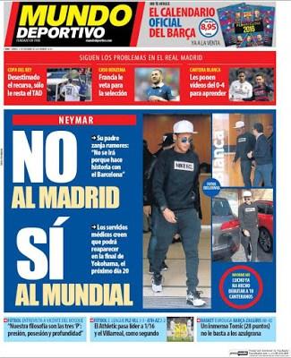 Portada Mundo Deportivo: Neymar si al Mundial