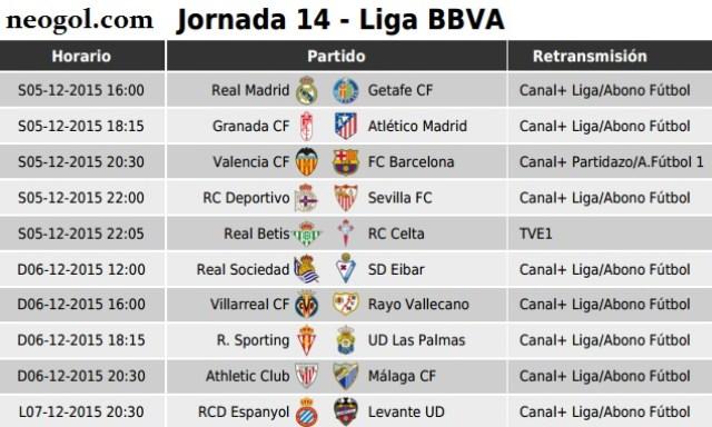 Partidos Jornada 14. Liga Española BBVA 2015