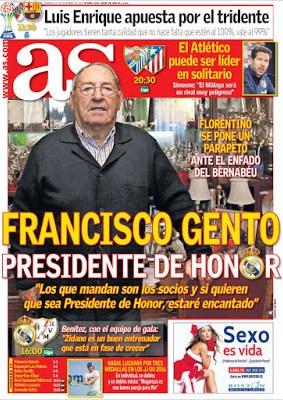 Portada AS: Francisco Gento presidente de honor