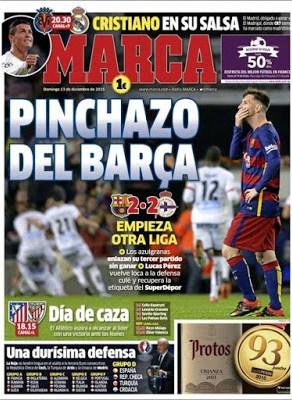 Portada Marca: pinchazo del Barça