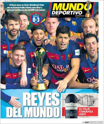 Portada Mundo Deportivo: Barcelona Rey del Mundo river japon