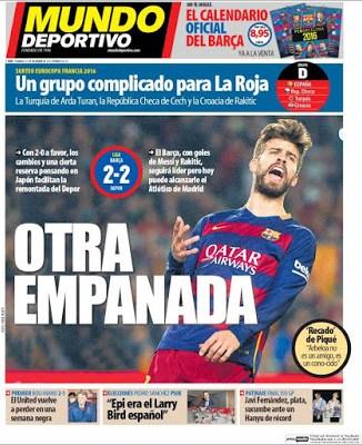 Portada Mundo Deportivo: otra empanada barcelona depor