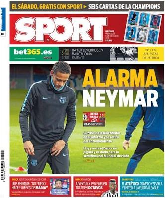 Portada Sport: Alarma Neymar