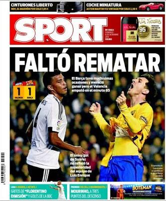 Portada Sport: Faltó rematar valencia barcelona