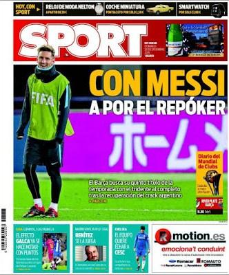 Portada Sport: Con Messi a por el Repóker