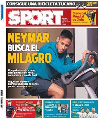 Portada Sport: Neymar busca el milagro