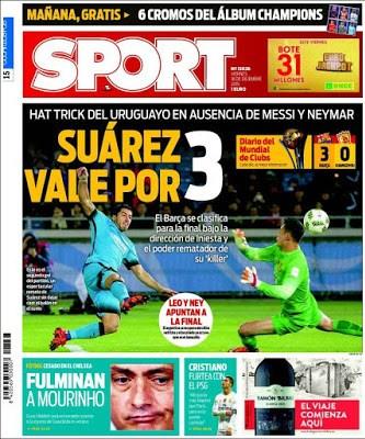 Portada Sport: Suárez vale por tres