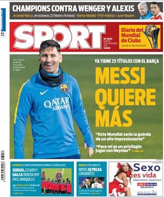 Portada Sport: Messi quiere más