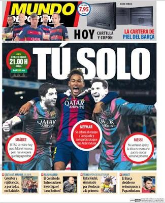 Portada Mundo Deportivo: Solo tu Neymar
