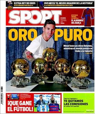 Portada Sport: Oro Puro messi
