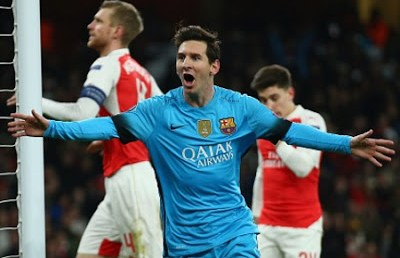 Arsenal 0-Barcelona 2. Octavos Champions (ida) messi