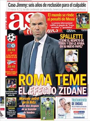 Portada AS: a Roma con el efecto  Zidane