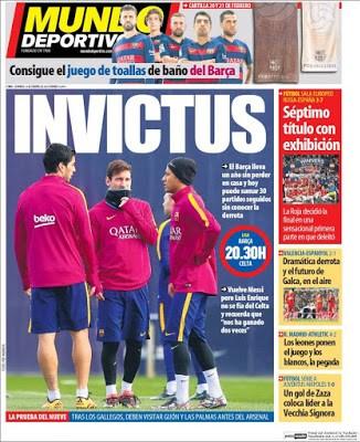 Portada Mundo Deportivo: Barça invictus
