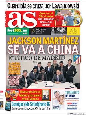 Portada AS: Jackson Martínez se va a China