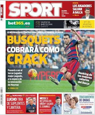 Portada Sport: Busquets cobrará como crack