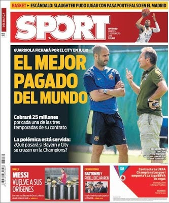 Portada Sport: Pep Guardiola al City
