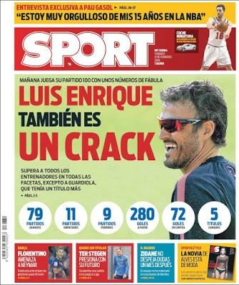 Portada Sport: Luis Enrique también es un crack