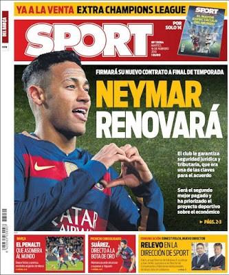 Portada Sport: Neymar renovará