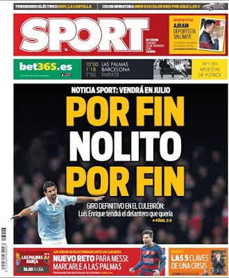 Portada Sport: Nolito por fin al Barcelona