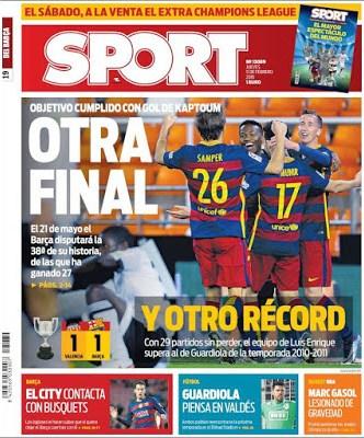 Portada Sport: otra final de Copa para el Barcelona