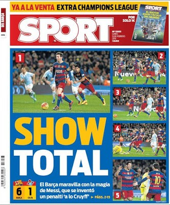 Portada Sport: Show total messi penalti asistencia suarez cruyff