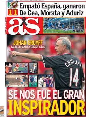Portada AS: Muere Johan Cruyff