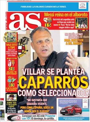 Portada AS: Caparrós sucesor de Del Bosque