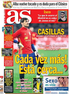 Portada AS: Casillas cerca del retiro