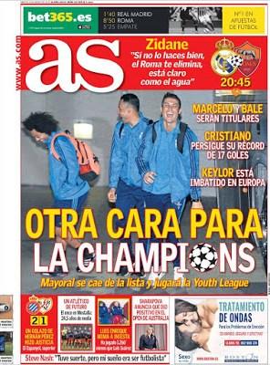 Portada AS: Champions Real Madrid-Roma