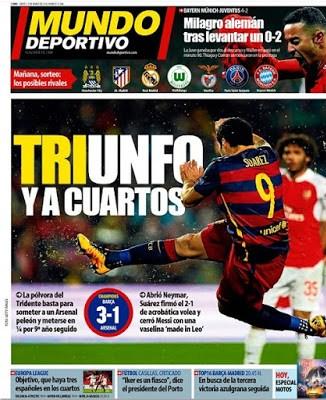 Portada Mundo Deportivo: triunfo y a cuartos