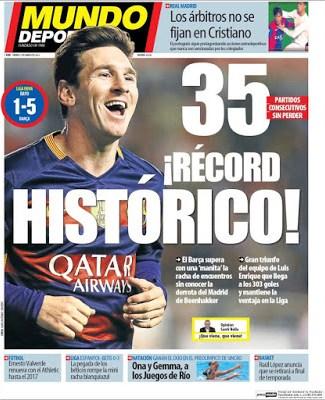 Portada Mundo Deportivo: Barça récord 35 partidos invicto