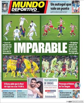 Portada Mundo Deportivo: Messi imparable