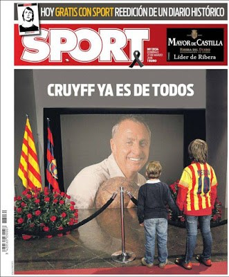 Portada Sport: Cruyff ya es de todos