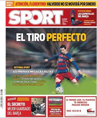 Portada Sport: El tiro perfecto leo messi