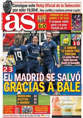 Portada AS: Bale salva al Madrid