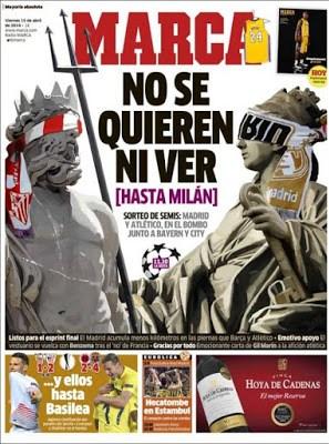 Portada Marca: Madrid y Atlético no se quieren ver hasta Milan