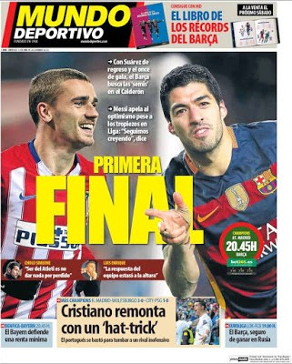 Portada Mundo Deportivo: Atlético-Barça primera final