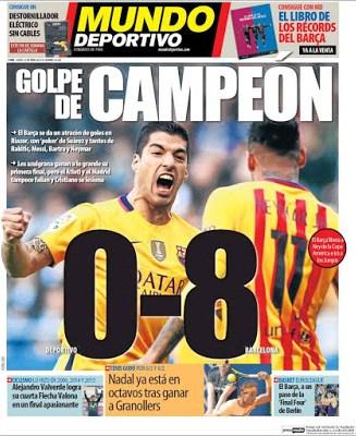 Portada Mundo Deportivo: golpe de campeón