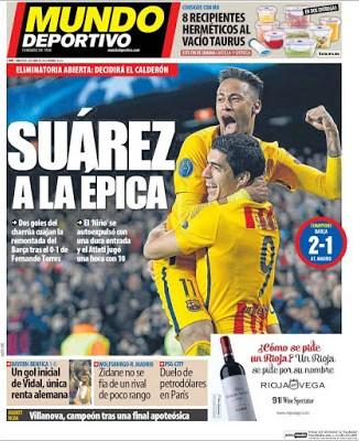 Portada Mundo Deportivo: Suárez a la épica