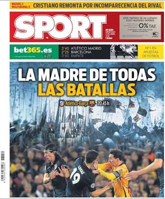 Portada Sport: Atlético-Barça por la Champions