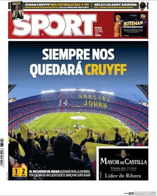 Portada Sport: Siempre nos quedará Cruyff