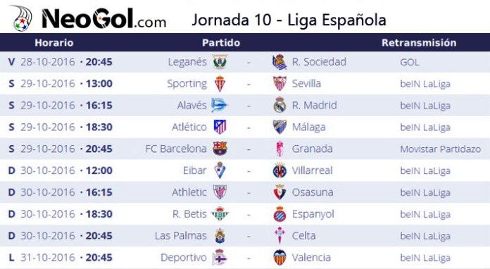 Jornada 10 Liga Española 2016