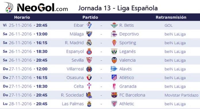 Jornada 13 Liga Española 2016