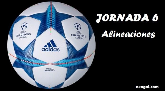 Alineaciones Jornada 6 Champions